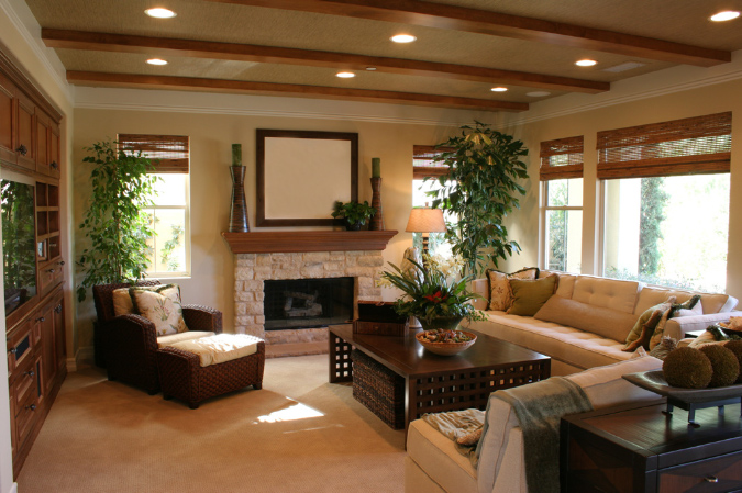 Family Room With Beams